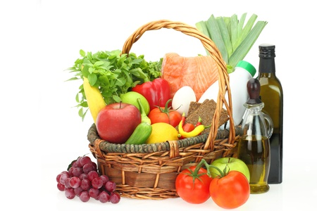 low fat diet: Groceries in the basket  Stock Photo