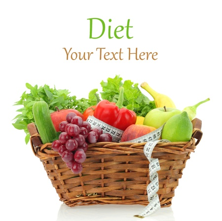 diet product: Diet products in the basket  Stock Photo