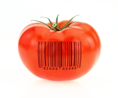 to encode: Tomato coded to represent product identification  Stock Photo