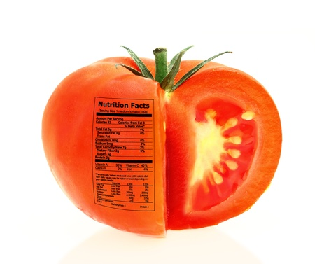nutritional: Tomato nutrition facts  Stock Photo