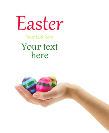 Female hand holding three colorful Easter eggs  Stock Photo - 15962143