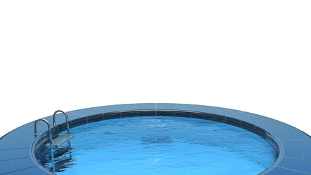 vacation home: Swimming pool isolated on white