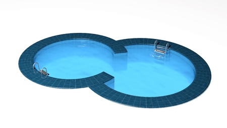 swimming pool home: Swimming pool isolated on white