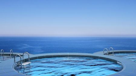 3d swimming pool: Luxury swimming pool in front of the sea