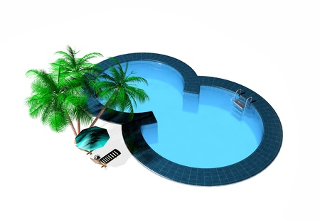 3d swimming pool: Swimming pool isolated on white