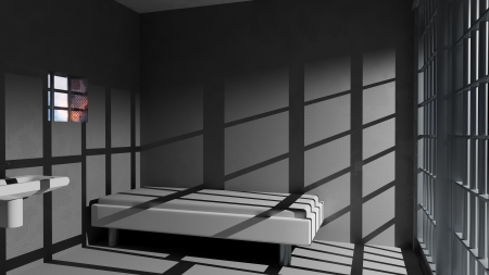 jail background: Prison cell Stock Photo