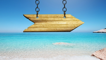 Wooden sign on the beach photo