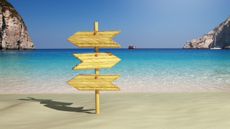 greek islands: Wooden sign on the beach