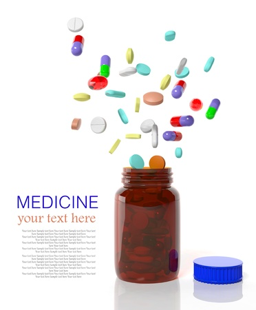 Pills come out from a medicine bottle  photo
