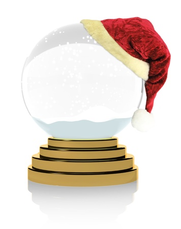 Empty Christmas snow globe on white background  photo