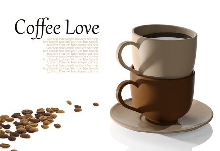 coffeecup: Coffee cups and coffee beans on white background Stock Photo