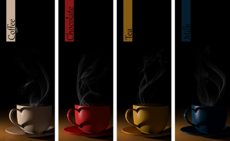 coffee time: Set of colorful cups banners
