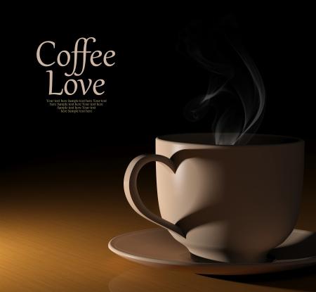 tazas de cafe: Coffee amor. Taza caliente de café sobre fondo negro Foto de archivo