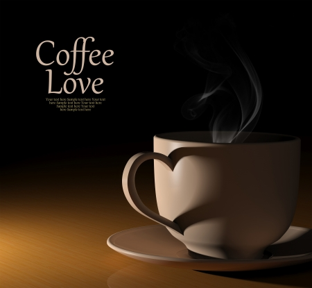 Coffee love. Warm cup of coffee on black background photo