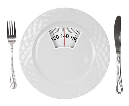 gewicht skala: Wei�e Platte mit Waage Lizenzfreie Bilder