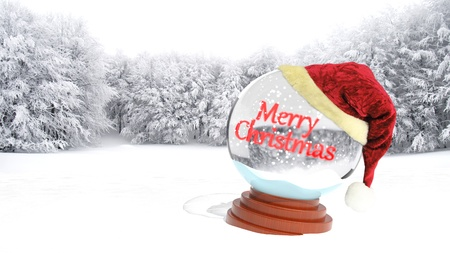 Christmas snow globe on snowy field Stock Photo - 16403970
