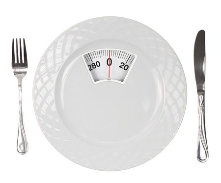 the calories: Diet meal. White plate with weight scale Stock Photo