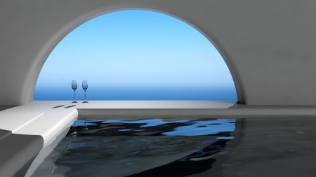 Luxury swimming pool interior in front of the