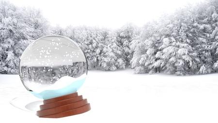 Christmas snow globe on snowy field Stock Photo - 16403975