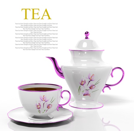 tea kettle: Porcelain teapot and teacup on white background Stock Photo