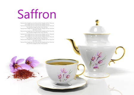 tea set: Teapot and teacup with saffron