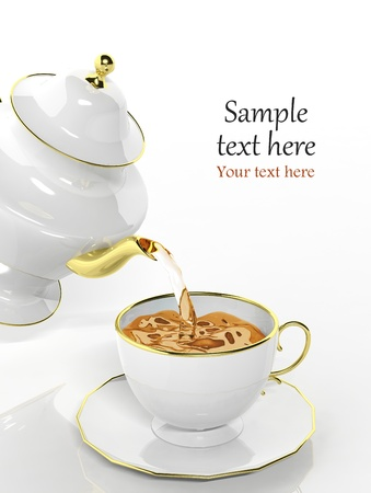 Porcelain teapot pouring tea into cup photo