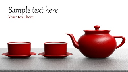 teacup: Red tea set on white background Stock Photo