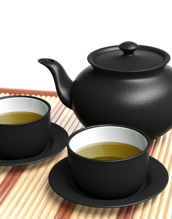 tea kettle: Black teapot and teacups on wooden tray Stock Photo