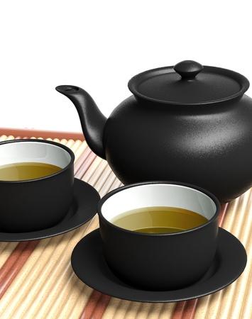 kettles: Tetera y tazas de té negro en la bandeja de madera