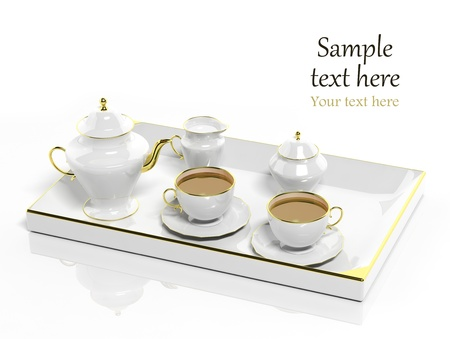 Porcelain tea set on white background photo