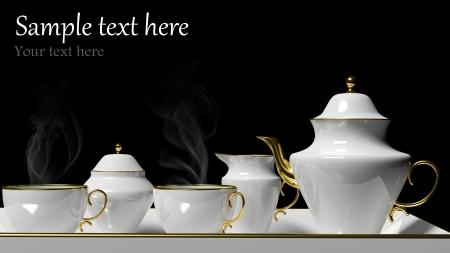 sugar bowl: Porcelain tea set on black background Stock Photo