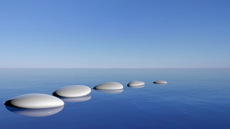 pebbles: Zen stones in the blue water