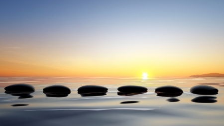zen water: Scenic view of lake with Zen stones in the water
