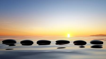 piedras zen: Vista panor�mica del lago con piedras zen en el agua