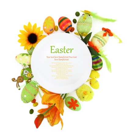 easter decorations: White plate with flowers and Easter eggs
