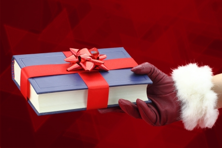 Woman's hand with red glove holding a book for gift photo