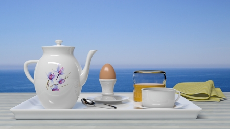 Breakfast set in front of a beautiful seascape Stock Photo - 16566984