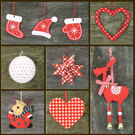 Christmas ornaments on wooden background, Collage of Christmas photos photo