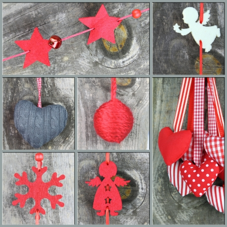 angel tree: Christmas ornaments on wooden background, Collage of Christmas photos