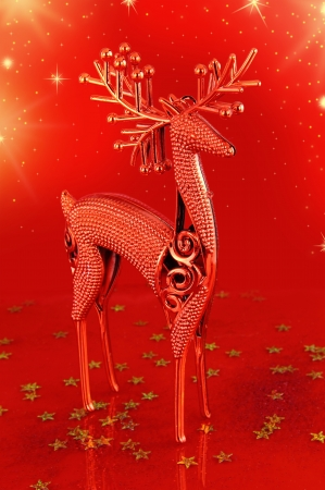Christmas deer on red background photo