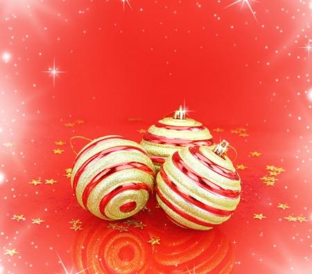 magic ball: Christmas balls on red background