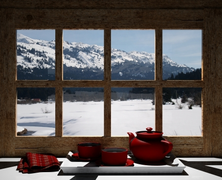 window view: Wooden window overlook the snowy mountains  Stock Photo