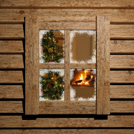 huts: Christmas window  Stock Photo