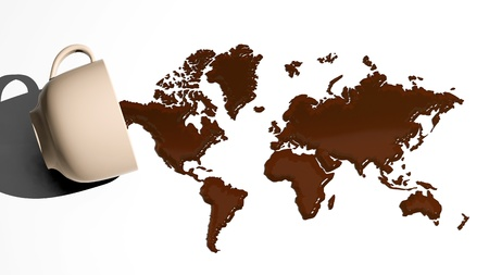 coffee filter: World map made of coffee stains Stock Photo
