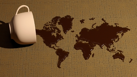 World map made of coffee stains photo