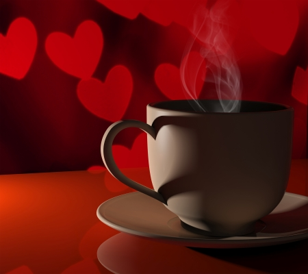 Coffee love. Warm cup of coffee in front of valentines background with hearts photo