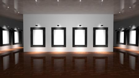 an exposition: Tela bianca sulla parete della galleria