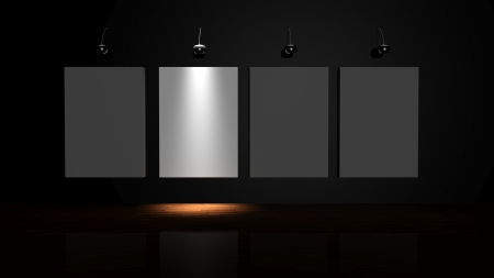 Stand out from the crowd. Illuminated canvas on the wall of the gallery  photo
