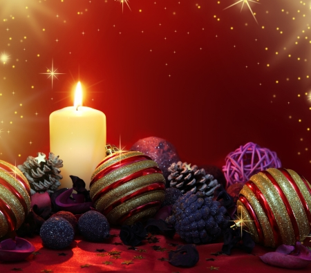 Christmas composition with candle and colored potpourri Stock Photo - 16698849