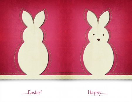 the rabbit hole: Easter bunny card back and front Stock Photo